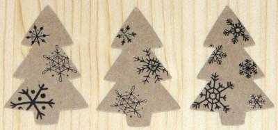 Наклейки из крафт-картона ёлочка со снежинками, для украшения подарков к Новому году