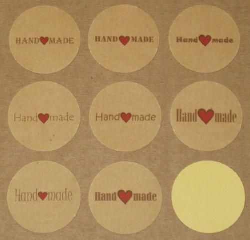стикеры Handmade из крафт-бумаги, с сердечком