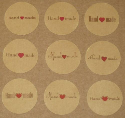 """набор круглые стикеров """"Handmade"""" с сердечком из крафт-бумаги / стикеры-наклейки"""