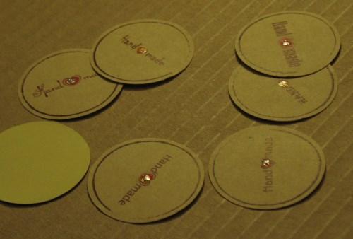 стикеры Handmade, с блёстками и красным сердечком, 38 мм, для товаров ручной работы / фото стикеров