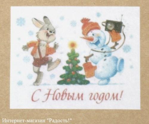 Новогодний стикер снеговик и зайчонок