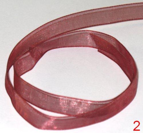 104. Оформительская лента из органзы бордового цвета шириной 9 мм / оформление подарков своими руками