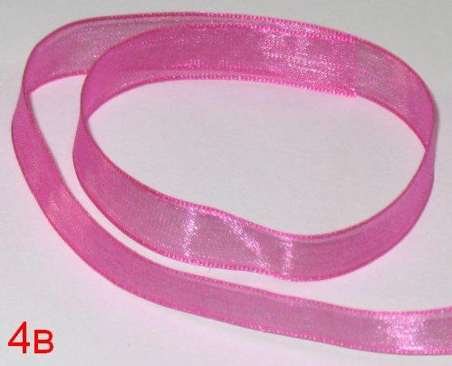 104. Оформительская лента из органзы тёмно-розового цвета шириной 9 мм 4в / оформление подарков своими руками