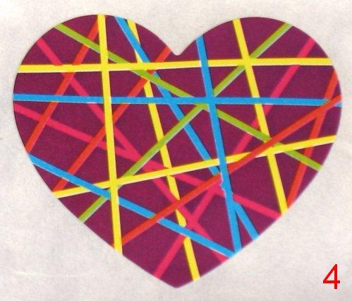 8053. Бордовая с разноцветными полосками наклейка-сердечко / оформление подарков своими руками