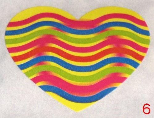 8053. Жёлтая с разноцветными волнами наклейка-сердечко / оформление подарков своими руками