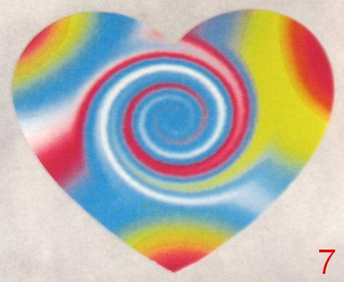 8053. Разноцветная с магической спиралью наклейка-сердечко / оформление подарков своими руками