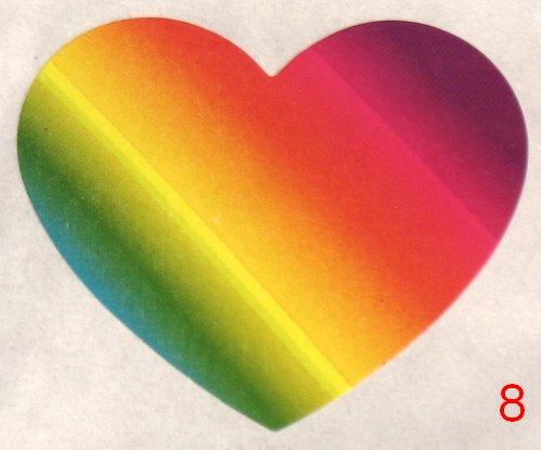 8053. Разноцветно-радужная наклейка-сердечко / оформление подарков своими руками