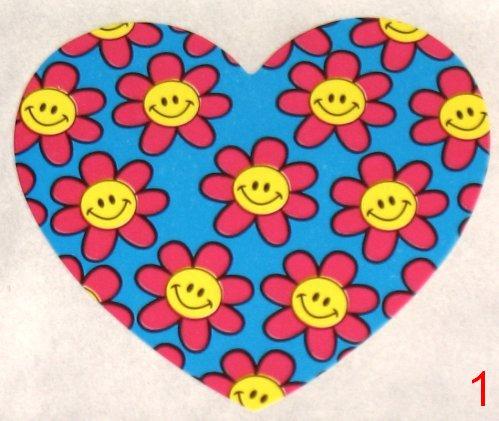8053. Голубая с розовыми цветочками наклейка-сердечко / оформление подарков своими руками