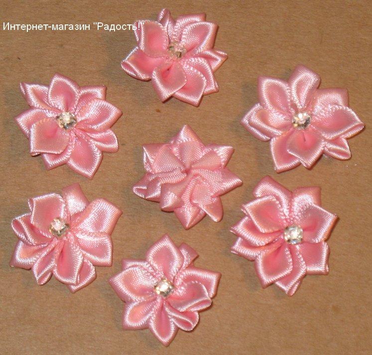 Разные цветы из атласных лент своими руками мастер класс